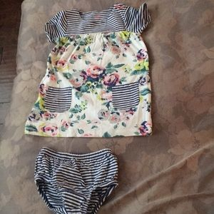 Adorable floral striped Boden dress and bloomers